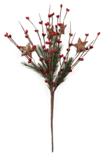 Pick - Red Pip Berry with Pine & Rusty Stars-