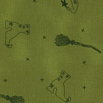 CP-D - Witch Collage Fabric -  Green (FHM)