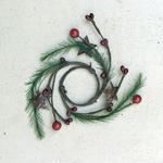 """Candle Ring - Red Pip Berry (Large & Small) with Pine & Rusty Stars - 1.5"""""""