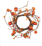 """Fall Candle Ring (2.5"""") with Berries and Mini Pumpkins"""