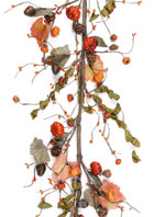 Fall Garland with Greenery, Berries and Mini Pumpkins