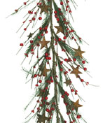 Large & Small Red Pip Berry Garland w/ Pine & Rusty Stars