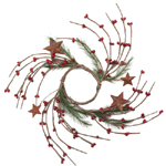 """Candle Ring - Red Pip Berry with Pine & Rusty Stars - 2.5"""""""