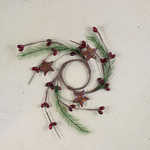 """Candle Ring - Red Pip Berry with Pine & Rusty Stars - 1.5"""""""