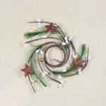 """Candle Ring - White Pip Berry with Pine & Rusty Stars - 1.5"""""""