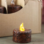 Grungy Tealight Candle (Battery Operated)  TIMER - Dark Finish
