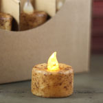 Grungy Tealight Candle (Battery Operated)  TIMER - Light Finish